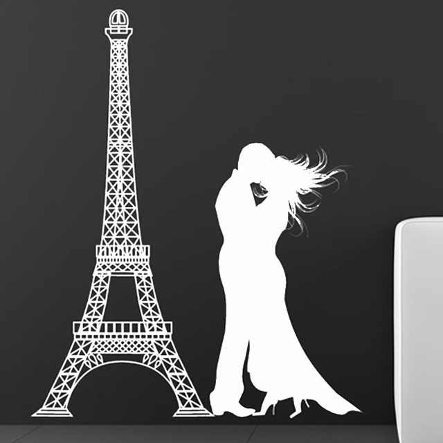DCTOP Lover Kissing In The Eiffel Tower Wall Sticker Living Room Vinyl  Removable Romantic Home Decor