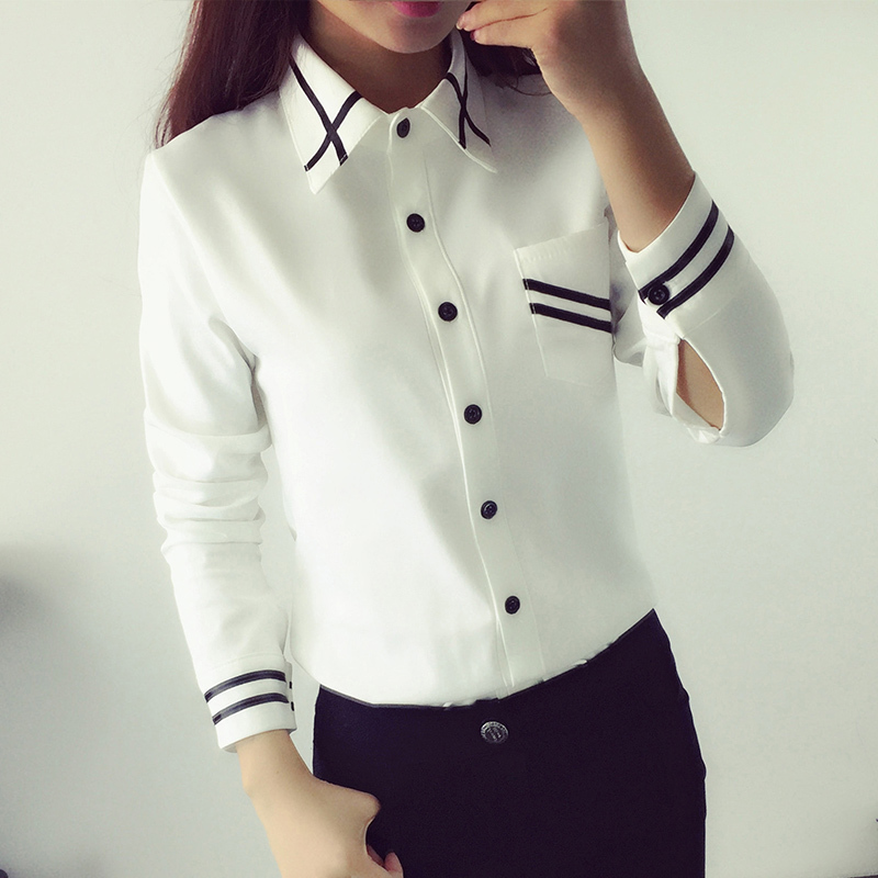 b59d95c5897fc1 Aliexpress.com : Buy Women Blouses New Arrival Fashion 2019 Autumn Korean  Style Long Sleeve Sequin Chiffon Ladies Office Shirt White Blue Tops Formal  from ...