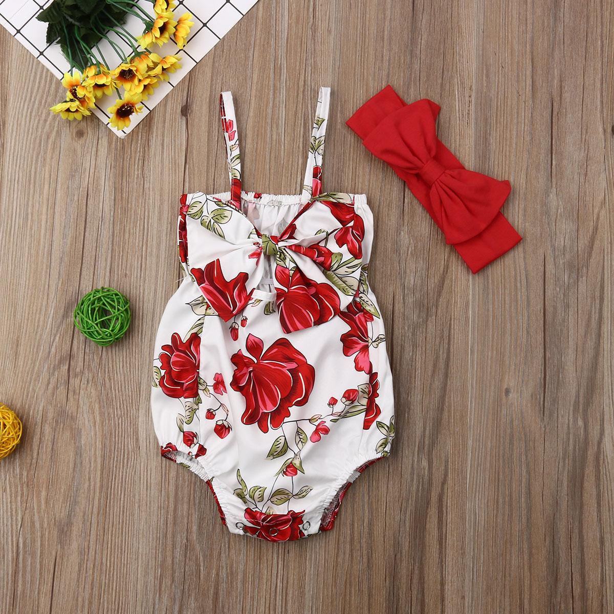 Infant Baby Girl Clothes Sleeveless Flower Print Bowknot Bodysuit Jumpsuit+headband 2pcs Outfits Summer Clothes