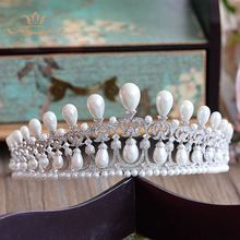 High-end Top Quality European Oversize Natuer Pearls Brides Crown Tiara AAAA Cubic Zirconia Hair bands Evening Hair Accessories