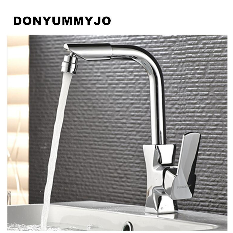 DONYUMMYJO High Quality Kitchen Faucet Chrome Plated Copper Single handle sink faucet tap in the kitchen hot and cold mixer chrome plated modern handle c c 192mm l 218mm h 23mm drawers cabinets