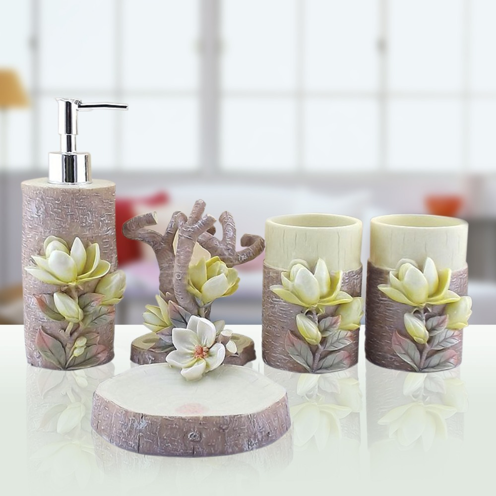 Hand engraved plant 5pcs lily sculpture resin bathroom for Bathroom fittings set