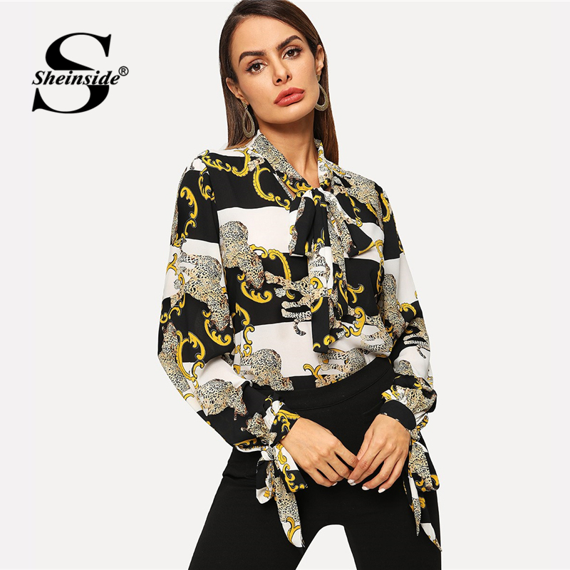 Sheinside Elegant Tied Neck Mixed Print Knotted Sleeve Top Women   Blouse     Shirt   2019 Lady Long Sleeve   Blouses   &   Shirts   Womens Tops
