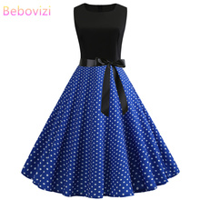 Bebovizi Women New 2019 Summer Black Patchwork Vintage Bandage Dress Dot Print Casual Office Elegant Sexy Plus Size Blue Dresses