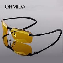 OHMIDA Aluminum magnesium Driving Glasses Male Drivers Night Vision Goggles Anti glare