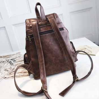2020 Vintage Women Backpack For Teenage Girls School Bags Fashion Backpacks Retro Leather Black Drawstring Large BagPack XA150H