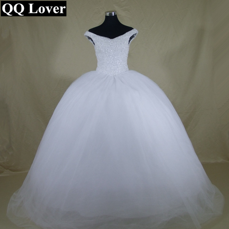 QQ Lover 2019 Latest Boat Neck Bling Bling Beads Ball Gown Wedding Dress Lace Up Back