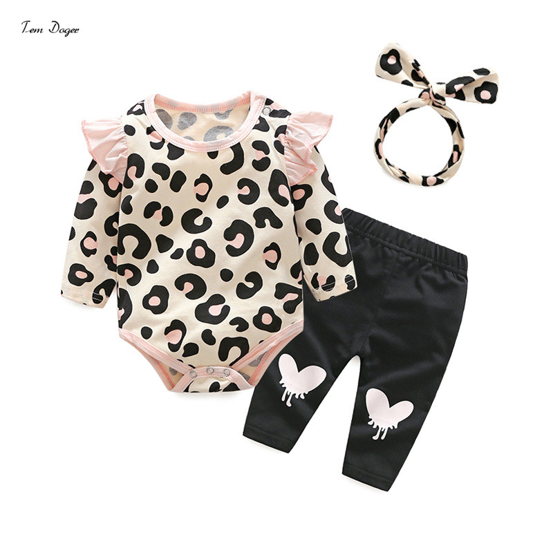 Tem Doger Autumn Baby Clothes Long Sleeve Print Cotton T-shirt + Pants+Headhand 3pcs/set Casual Outfit Baby Girl Clothing Set warm thicken baby rompers long sleeve organic cotton autumn