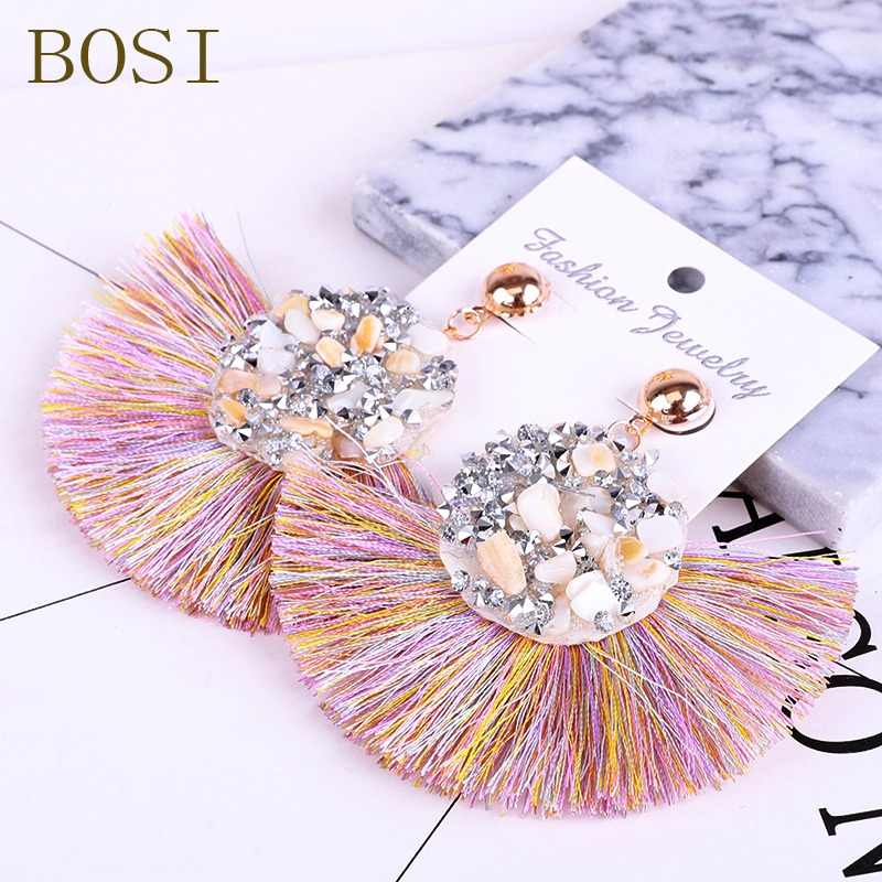 Tassel Drop Earring Bohemian Crystal  Handmade Women Statement Luxury Long Earring jewelry Geometric Fringe Fashion Big stone