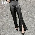 Черный подлинная кожаные штаны 100% овчины сплит flare брюки натуральная кожа брюки pantalon femme pantalones mujer LT895 СВОБОДНЫЙ КОРАБЛЬ