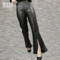 Black genuine leather pants 100%lambskin split flare pants real leather trousers pantalon femme pantalones mujer LT895 FREE SHIP
