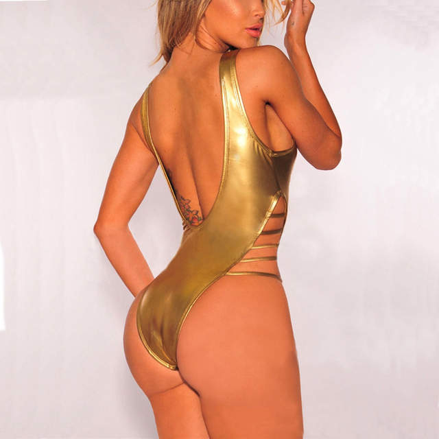 83c729e281 Online Shop Sexy Solid Gold Bandage One Piece Swimsuit Women Swimwear 2018  High Cut Out Monokini Backless Bodysuit Bathing Suit Beach Wear