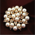 6PCS/LOT Gold Tone Faux Pearl&Diamante Wedding Bridal Dress Brooch Pin