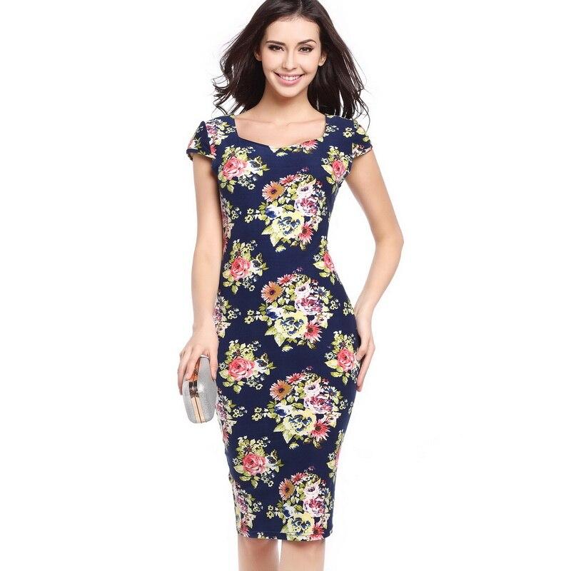 2060432c397 Ebay Hot 2017 Vintage Floral Print Vestidos Bodycon Pencil Sexy Summer  Dress Women Navy Blue Plus Size Party Dresses Feather