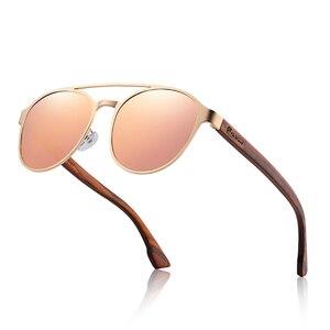 Image 3 - HU gafas de sol polarizadas para hombre y mujer, marco de acero inoxidable, con bisagra de resorte de madera, con protección UV400, GR8041