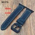 Handmade retro marrom/azul assolutamente calf genuine pulseira de couro 38mm/42mm para a apple cinta iwatch livre grátis
