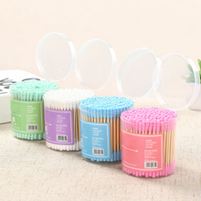 Liplasting 200pcs/Lot Candy Color Soft Thread Dual-head Ears Cotton Swabs Stick Makeup Too