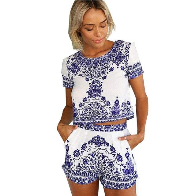 Verão macacão imprimir Bodysuit mulheres macacões senhoras macacão gerais mulheres macacão macacão Feminino de duas peças Outfits