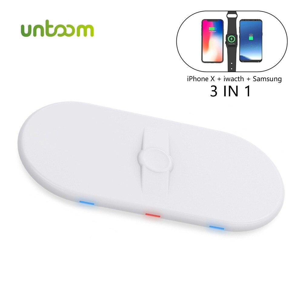 3 en 1 Qi chargeur sans fil pour Apple Watch 1 2 3 iWatch iPhone X Xs 8 8plus Samsung Galaxy Note 8/S8 chargeur rapide sans fil
