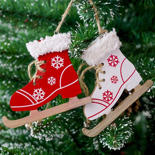 cute christmas ornament snowflake pattern skating shoes wooden craft christmas tree decoration for home xmas new