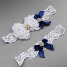 2pcs set Royal Blue Wedding Garter Set Bow Lace bridal Garter Belts Keepsake Garter And Toss