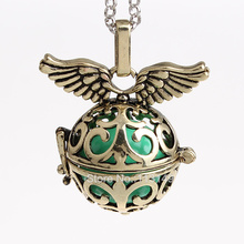 12pcs/lot 5 Colors Openable Angel Wing Hollow Chime Box Cage Musical Sound Ball Pendant Pregnancy Necklaces For Mother HCPN17