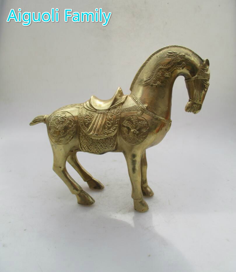 Collectible Home Decorated Crafts !!! Chinese Brass Carved Big Dragon Horse Statue/Home Fengshui Metal Horse Sculpture