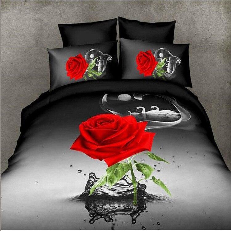 4pc 3D Black Rose duvet cover Flower beddingset