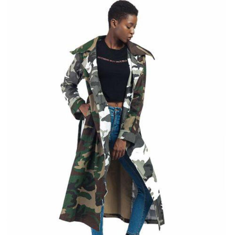 Woman Coat 2019 Spring Autumn Punk Rave Long   Trench   Coats Women Long Sleeved Vintage Camouflage Windbreaker Female Overcoat