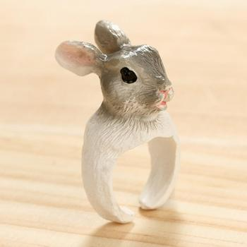 Handmade Polymer Clay Cute Cat Squirrel Animals Opening Finger Ring Jewelry Gift brassiere