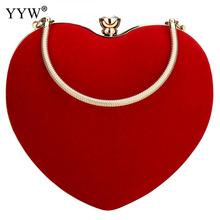 Red Heart Shape Satin Clutch Bag For Women Luxury Handbags Bags Designer Evening Party Wedding Prom Clutches Purse