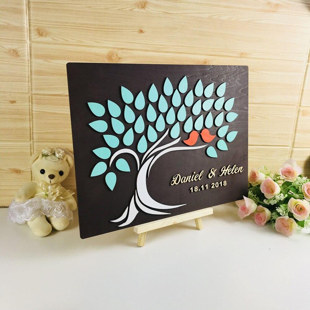 3D Baum Custom Hochzeit Holz Gästebuch, Nach Name & Datum, Hochzeit Decor Einzigartige Hochzeit Gästebuch, baum Des Lebens Hochzeit Geschenk-in Signatur-Gästebücher aus Heim und Garten bei  Gruppe 1
