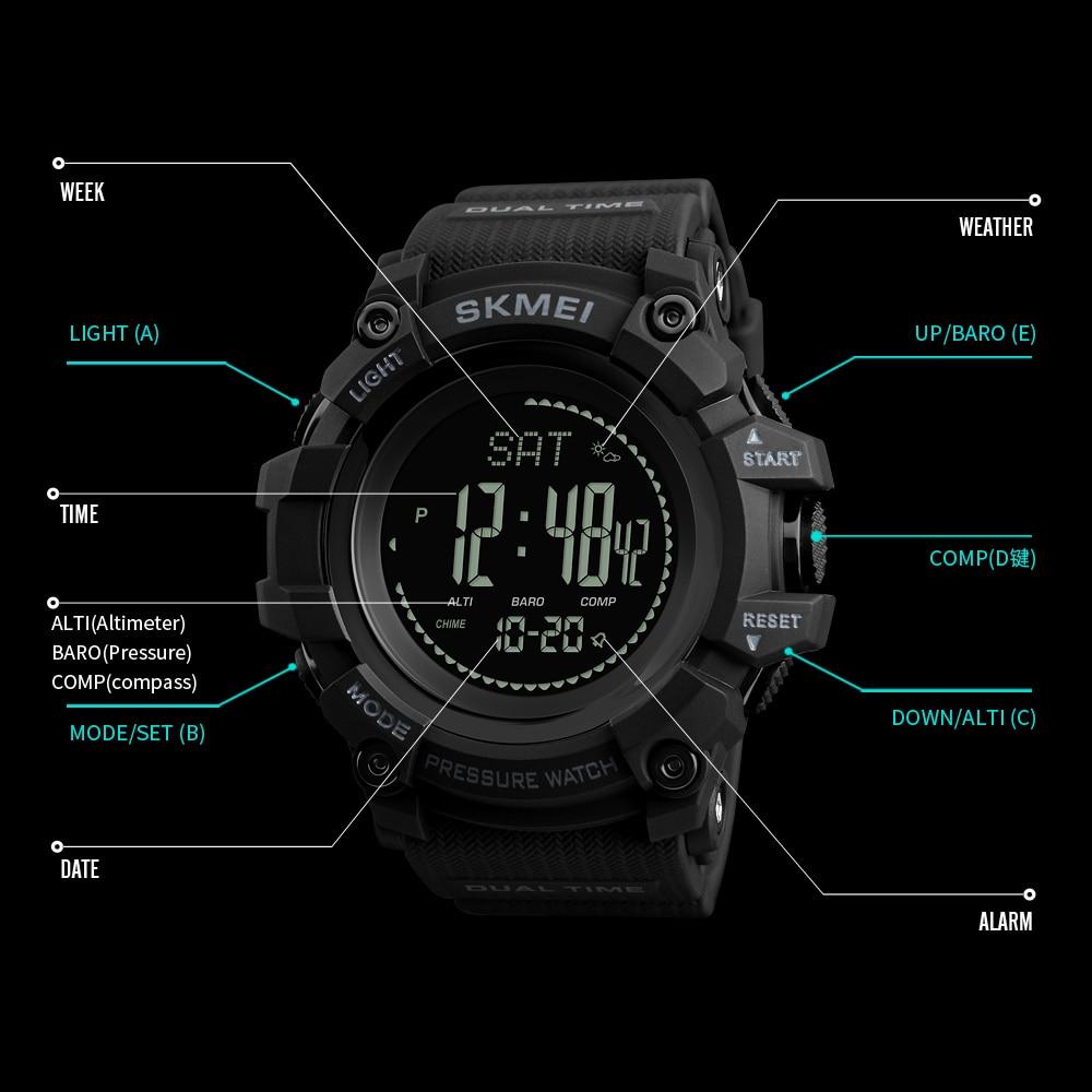 SKMEI Mens Sport Watch Fashion Men's Digital Watch Altimeter Barometer Compass Temperature Weather Electronic Luxury Men Watches 2