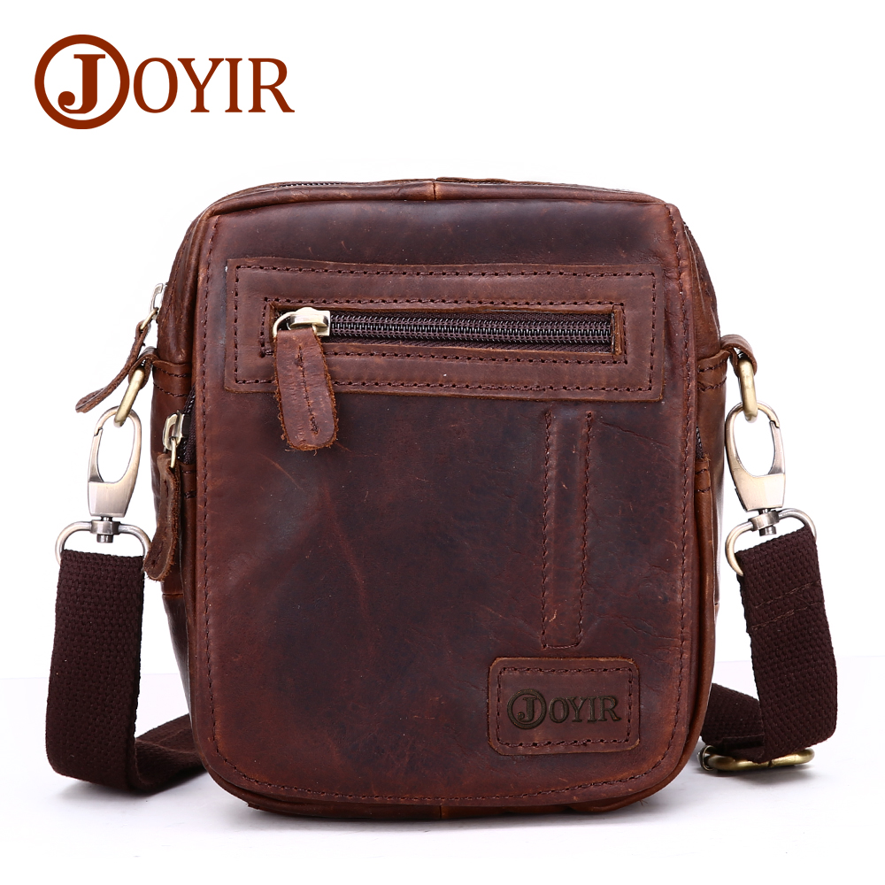 JOYIR Mini Men Messenger Bag Genuine Leather Crossbody Bag Cow Leather Waist Bags Male Single Small Shoulder Bag For Men joyir hot sell shoulder bags for male genuine leather messenger soft bag solid color locking buckle crossbody clutch package