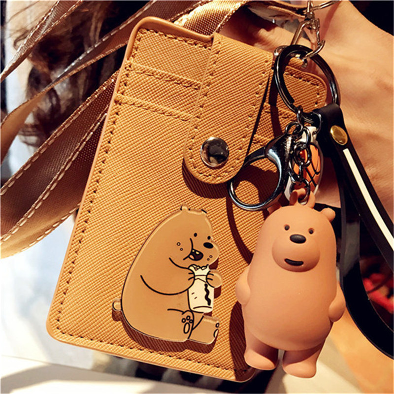 HNXZXB New Cartoon Cute Card Bag PU Buttons Various Colors Card Bag Multi-functional Animal Key Chain Neck Card Bag