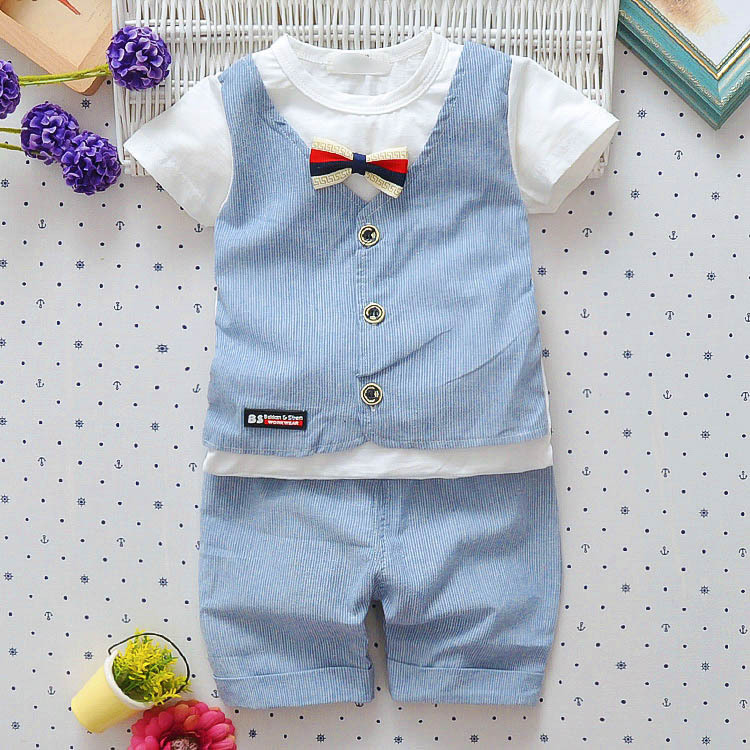 2018 Hot Boys Summer Infant/Newborn Cotton Clothes Sets Children Letter Short Sleeve T-shirt Shorts Pants Kids Handsome Suits