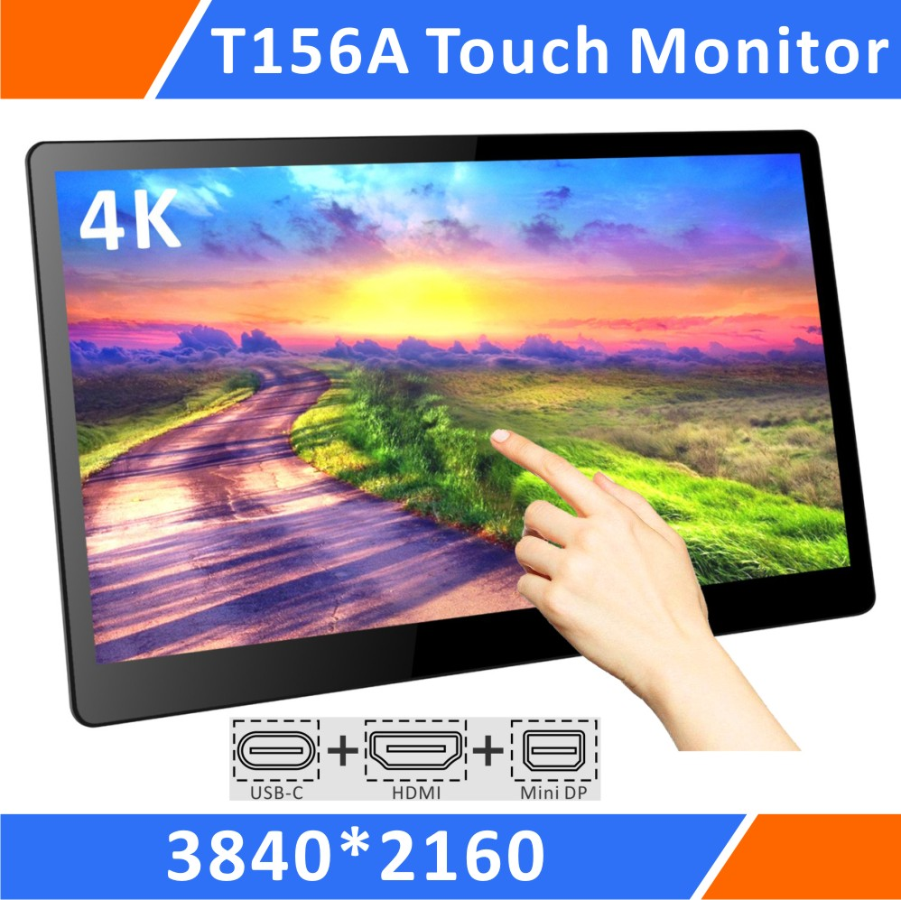 15.6 Inch UHD 4K Multi-Touch Monitor,Compact&Slim With USB C Video Output,HDR,Integrated Speakers,Rear Bracket,DC 12V In(T156A)