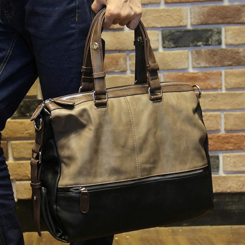 Large capacity mens handbag casual shoulder bag male messenger cross body bags man travel totes work business laptop sling pack