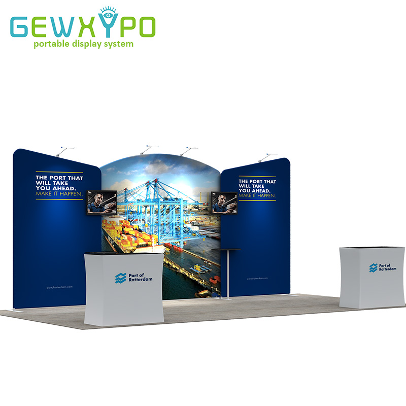 6m*3m Expo Booth Pop Up Tension Fabric Advertising Banner Display Backdrop Wall With Two Podium Hard Case And Four LED Lights