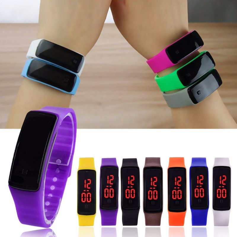 2019 Fashion Men Women Casual Sports Bracelet Watches LED Electronic Digital Candy Color Silicone Watch For Ladies Kids Montre