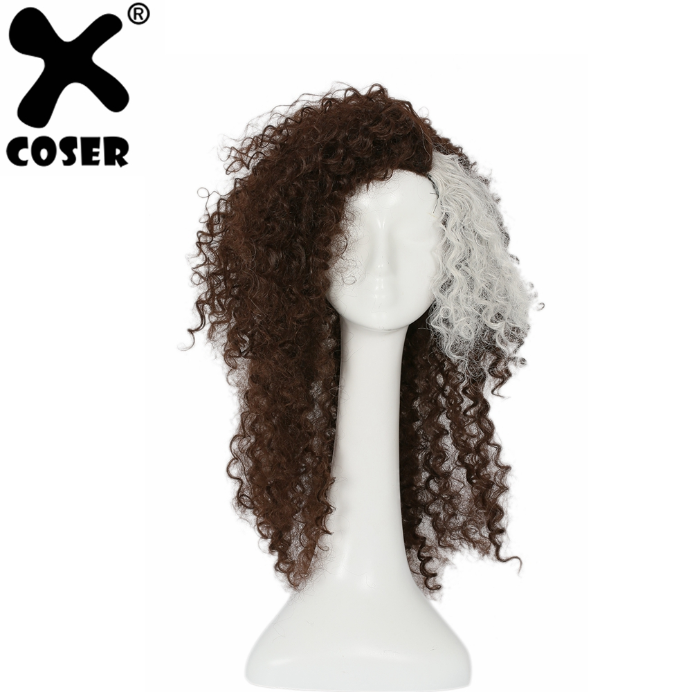 XCOSER Harry Potter Bellatrix Lestrange Curly Brown Wig Women Cosplay Costume Accessories 2019 Fashion Halloween Party Wigs Hair