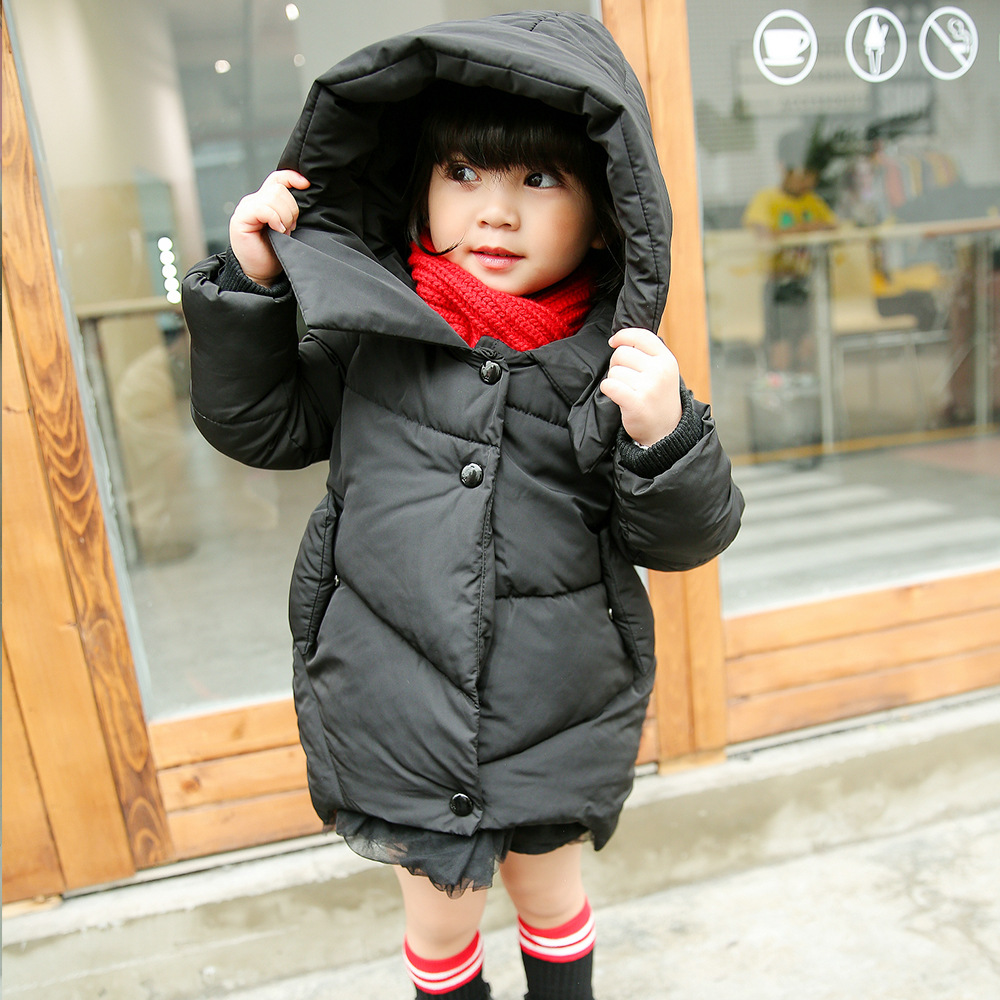 High Quality Long Girls Winter Coat O-neck Solid Cotton Jacket For Girls Children Outerwear Winter Jackets Coats LSK7806