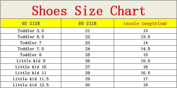 us children size shoes