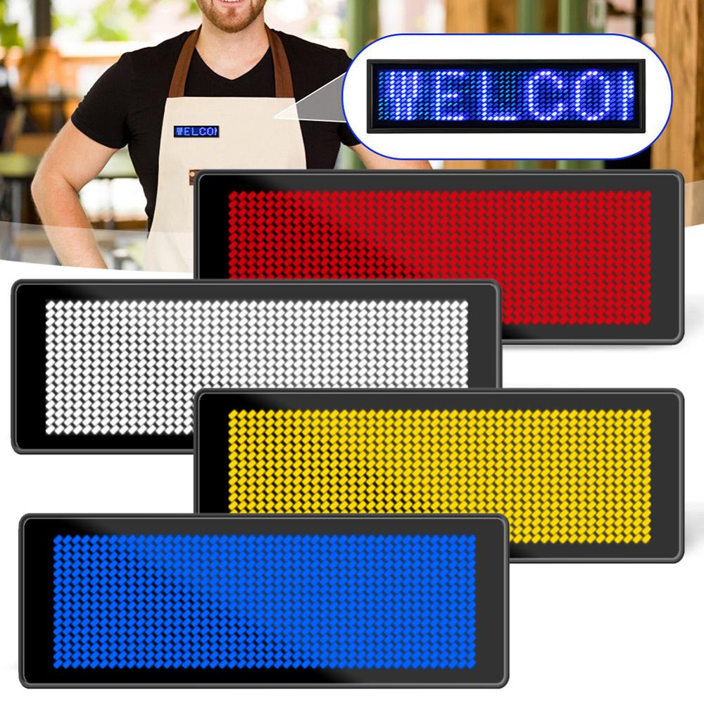 Durable Rechargeable Led Name Tag Mini Digital Bluetooth APP Programmable Scrolling Message Tag Badge Sign Support All Languages