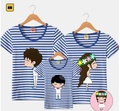 1pcs Family Look Matching Clothing Outfits Tops Short-sleeve Striped T-shirt Clothes Tee For Mother Daughter And Father Son Kids