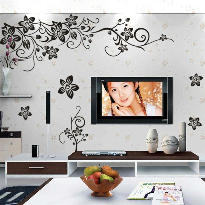 Hot sellings classical black flower wall art zooyoo027s - Stickers muraux salon ...