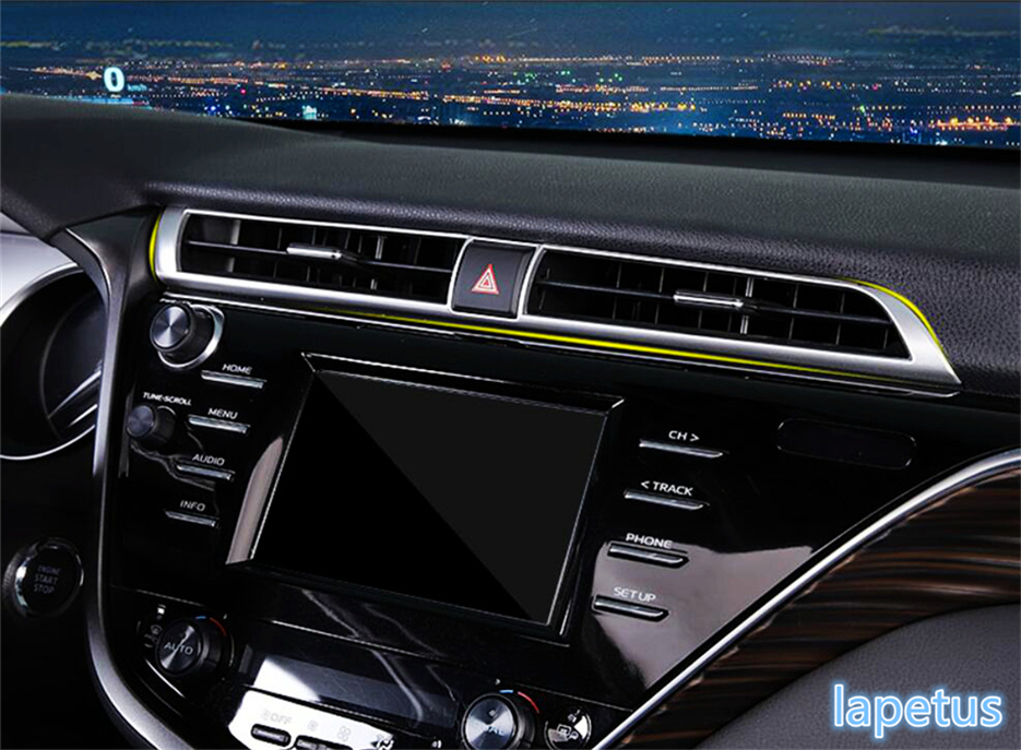 Lapetus For Toyota Camry 2018 ABS Front Middle Air Condition AC Outlet Vent Decorative Stickers Cover Trim 1 Piece