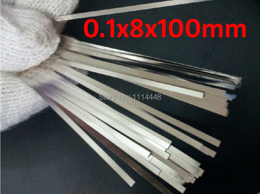 цены 0.1 x 8 x 100mm 100pcs Pure Nickel Plate Strap Strip Sheets 99.96% for battery spot welding machine Welder Equipment