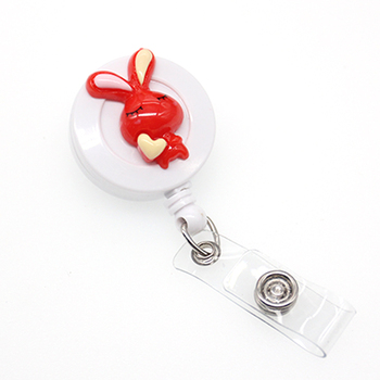 20pcs Wholesale Cute design red rabbit animal Retractable id badge holder reel for kids