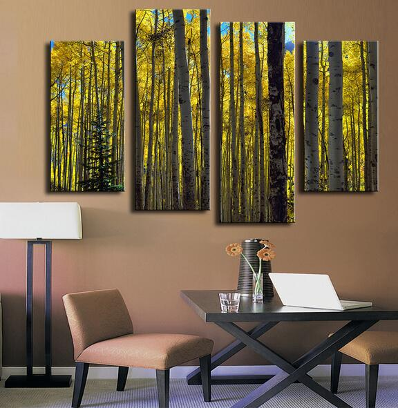 4 Piece Sunlight Through The Aspen Trees Wall Paintings For Home Decor Idea  Oil Painting Art